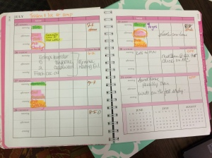 I like my weekly and daily calendars to be easy to read and use. This isn't broken down by time, but I don't really need that since we aren't homeschooling this year.